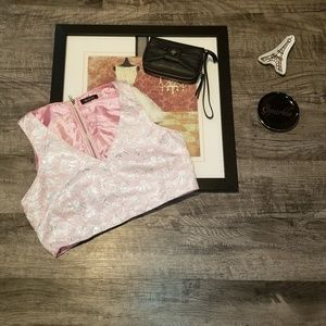 do & be pink and silver floral design  crop top